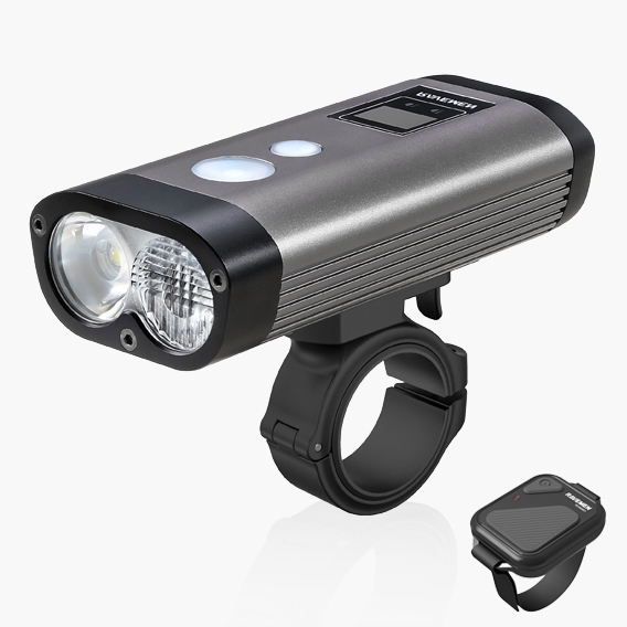 Powerful twin beam bike light with remote switch